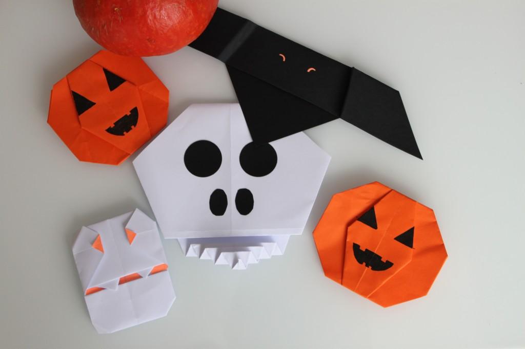 origami-halloween-fantome- citrouille