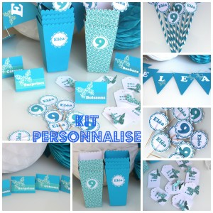kit personnalisé anniversaire turquoise