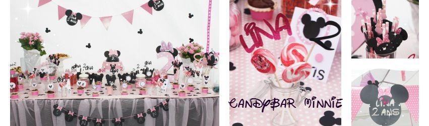 Un candybar sur le thème de Minnie pour une Jolie Lina de 2ans