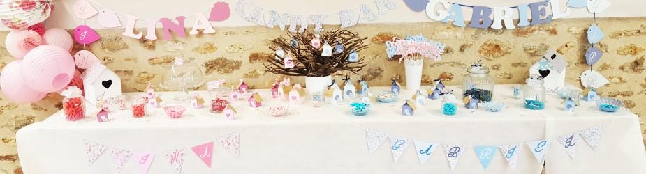Candy bar pour un Baptême fleuri et frais- thème oiseau – rose et bleu